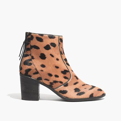 "Chunky stacked heel. A mix of dotted calf hair and rich leather. Yes, this would be the ankle boot you're looking for. Please note: When you select your size, ""H"" equals a half size. <ul><li>Leather, calf hair upper.</li><li>4 5/16"" shaft height (based off size 7).</li><li>10 7/16"" shaft circumference (based off size 7).</li><li>2 4/5"" heel.</li><li>Leather lining.</li><li>Man-made sole.</li><li>Import.</li><li>Madewell.com only. </li></ul>"