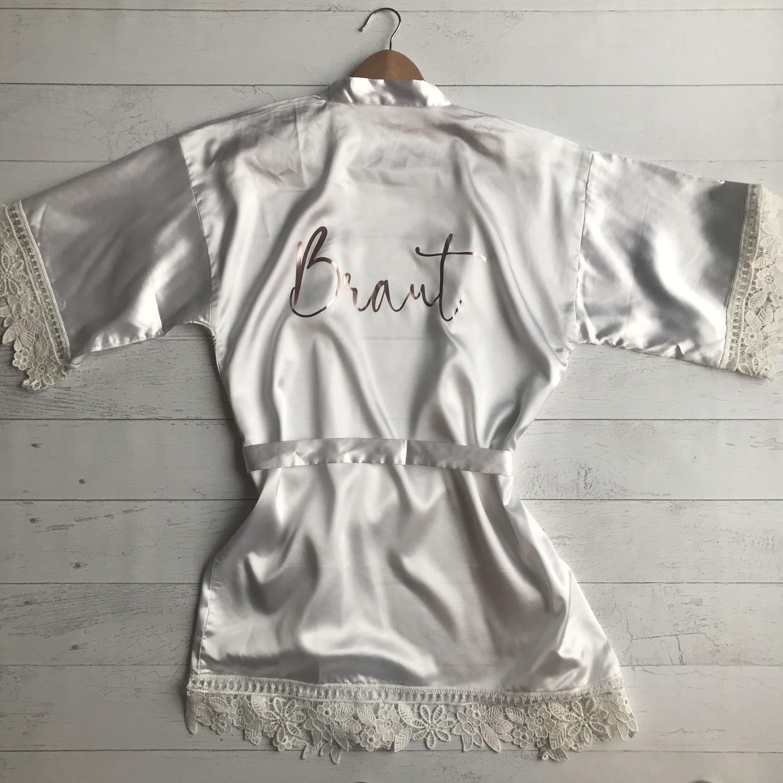 Morgenmantel Hochzeit Brautkimono Weiss Mit Bordure Personalisiert Fashion Rompers Dresses