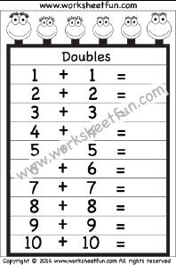 addition doubles 1 worksheet printable worksheets pinterest worksheets math and homeschool. Black Bedroom Furniture Sets. Home Design Ideas