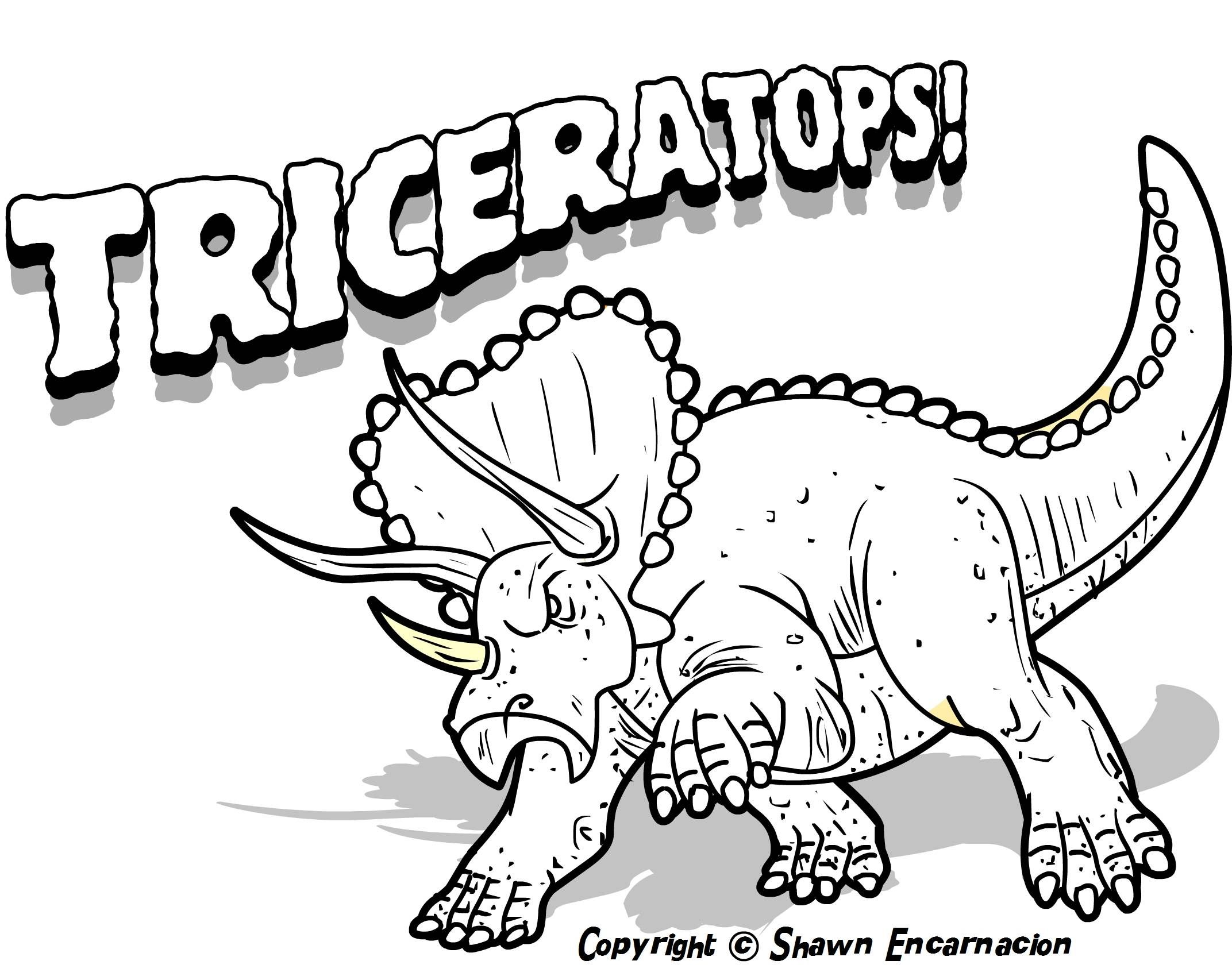 Free dinosaur color page google search charging triceratops
