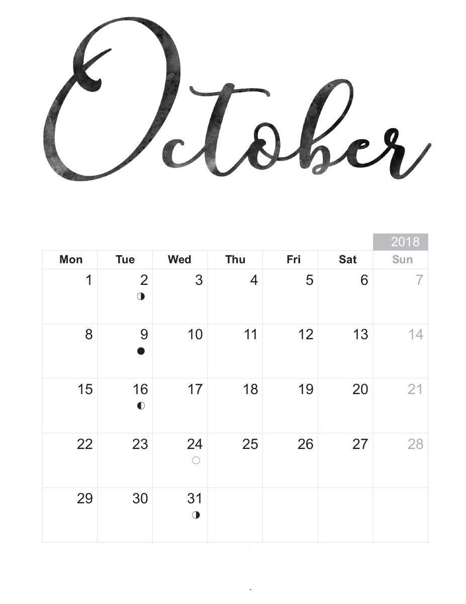 October 2018 Calendar Pdf Printable Template Shablony Dlya Pechati