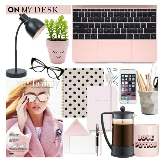 """My desk!"" by kerol-bartoli ❤ liked on Polyvore featuring interior, interiors, interior design, home, home decor, interior decorating, Bell'Invito, Kate Spade, Bando and New Look"