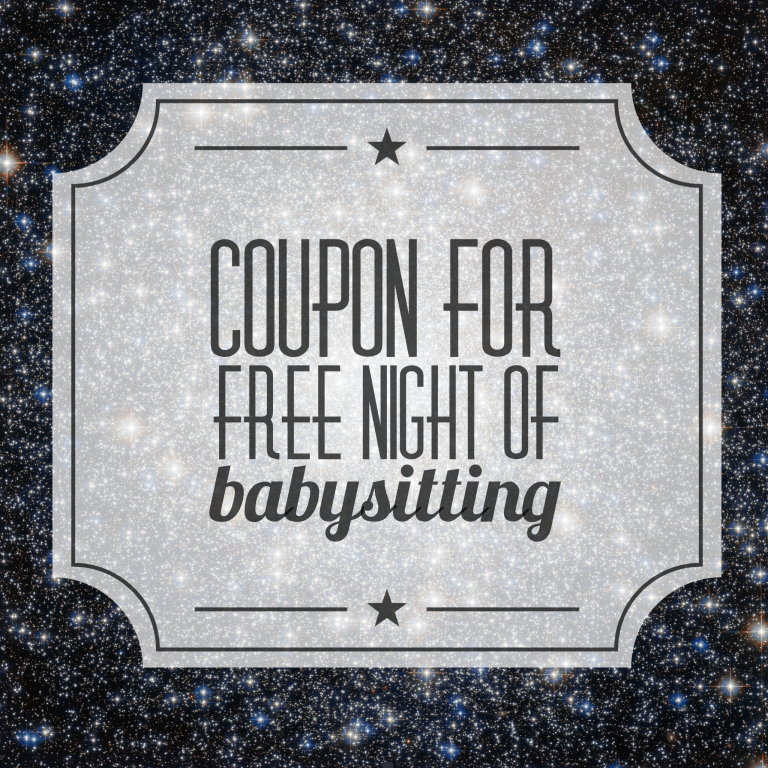 One free night of babysitting free printables online free babysitting coupon yadclub Choice Image