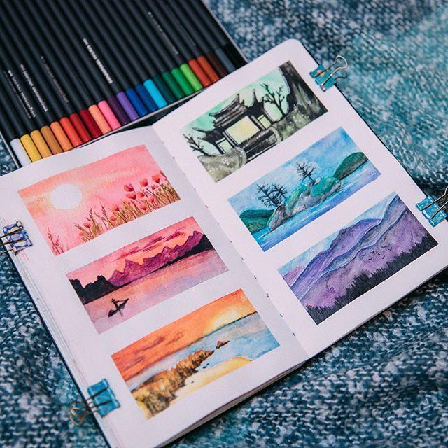 Hier ist eine weitere Sketchbook-Idee aus meiner Skillshare-Klasse! ❤ (#linkinbio) Ju ... - # #watercolorart