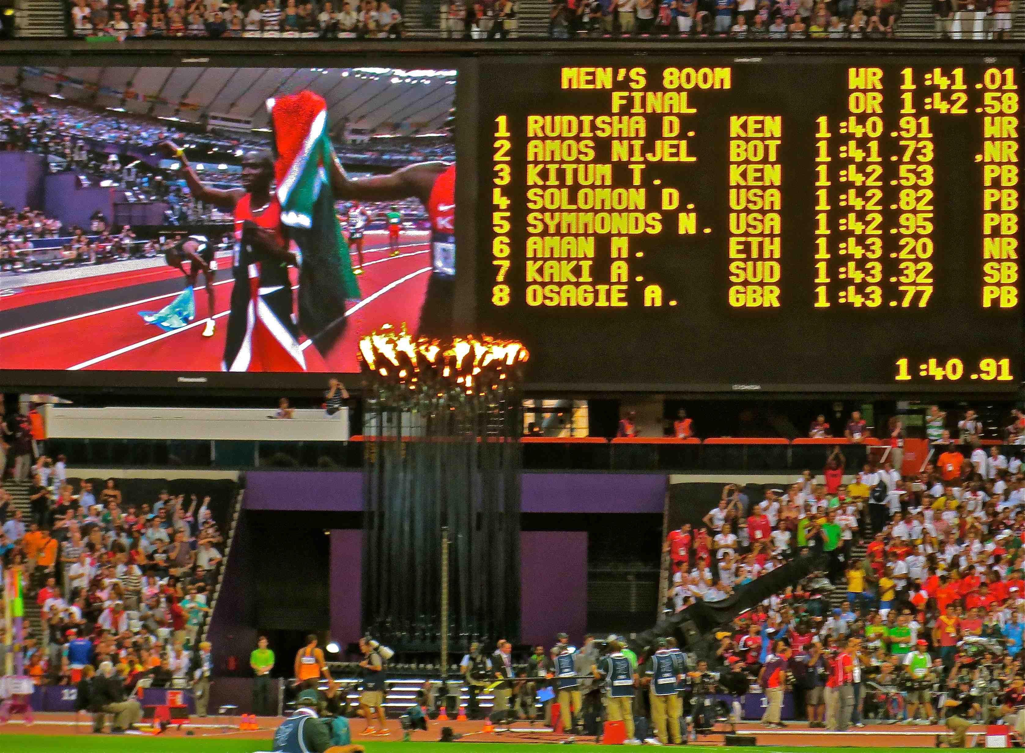 Olympics London 2012 Mens 800m final, the fastest 800m race ever run!  8: UK's Osagie gains Personal Best  7: Sudan's Kaki gains Season's Best  6: Ethiopia's Aman sets new National Record  5: USA's Symmonds gains Personal Best  4: USA's Solomon gains Personal Best  3: Kenya's Kitum gains Personal Best - at age 17, you're looking at a future mega-star when he peaks  2: Botswana's AMOS sets new Nationial Record AND new World Junior Record  1: Kenya's Rudisha BREAKS HIS OWN WORLD RECORD