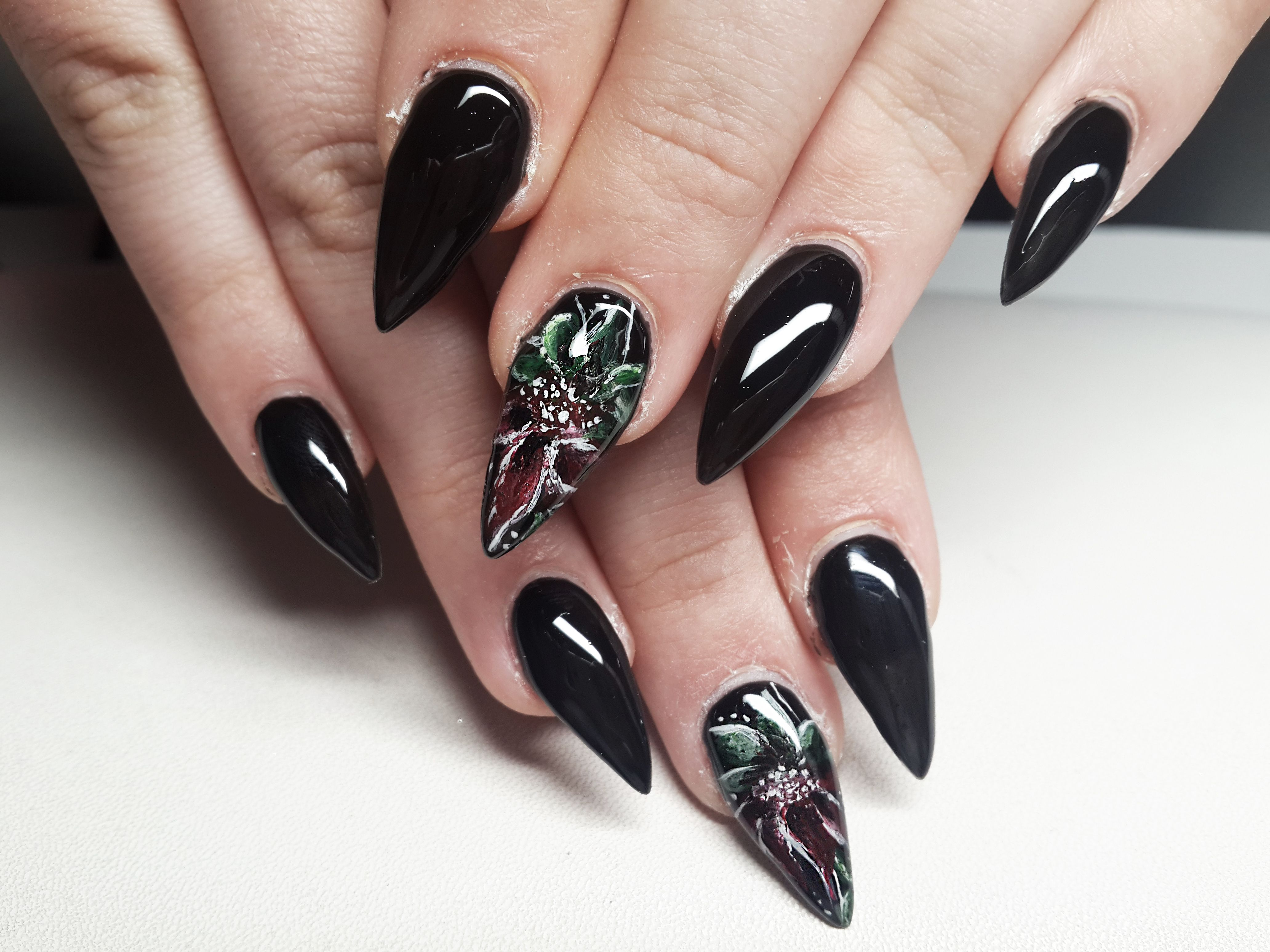 Stiletto flower nail art my nails pinterest flower nail art stiletto flower nail art prinsesfo Image collections