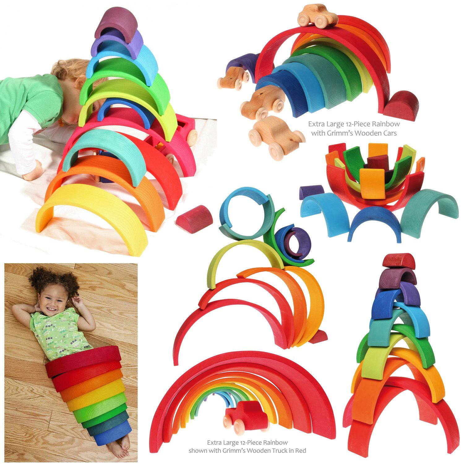 Amazon Grimm s Extra 12 Piece Rainbow Stacker Wooden