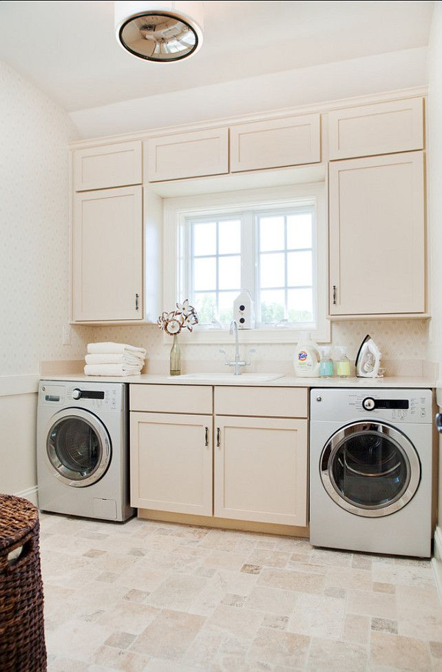Utility Sink For Small Bathroom Space: Cabinetry Framing The Window, Plenty Of Counter Space