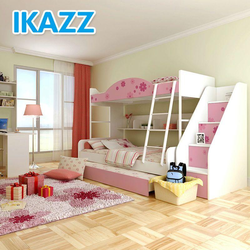 mdf mélaminé ikazz cartoon lits superposés pour les filles avec des escaliers-image-Lit d'enfant-Id du produit:1631237616-french.alibaba.com