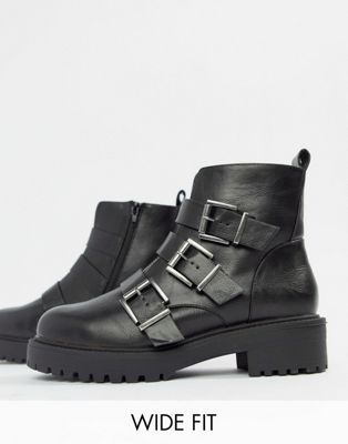 f81ea9c1452 DESIGN Wide Fit Arco chunky multi buckle ankle boots in 2019 | Shoes ...