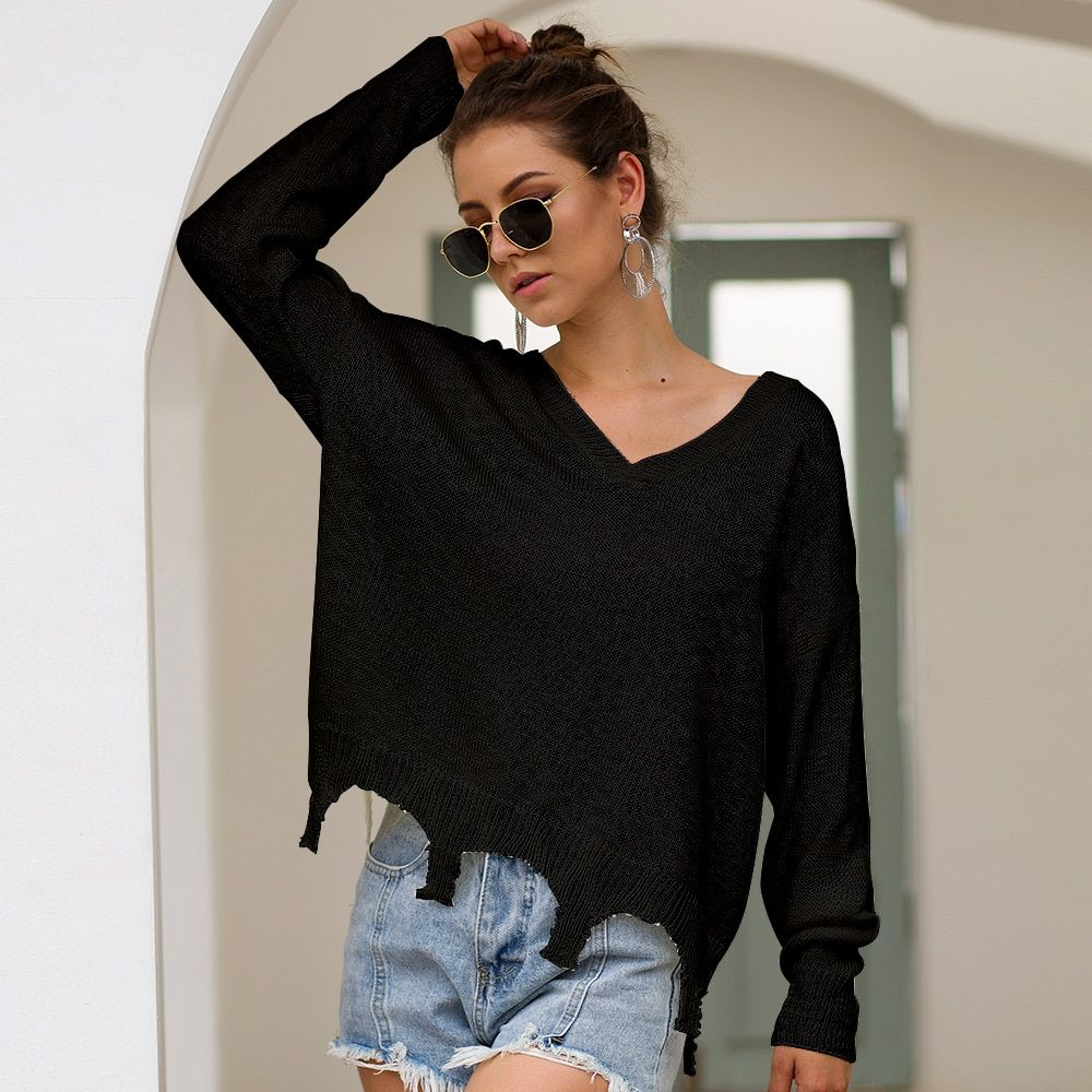 Women/'s V-Neck Knitted Sweater Slim Long Sleeve Loose Jumper Tops Knitwear