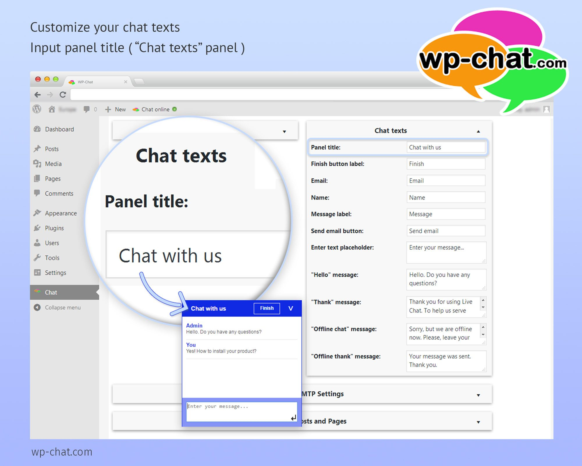change live chat window titles and texts to interest and attract