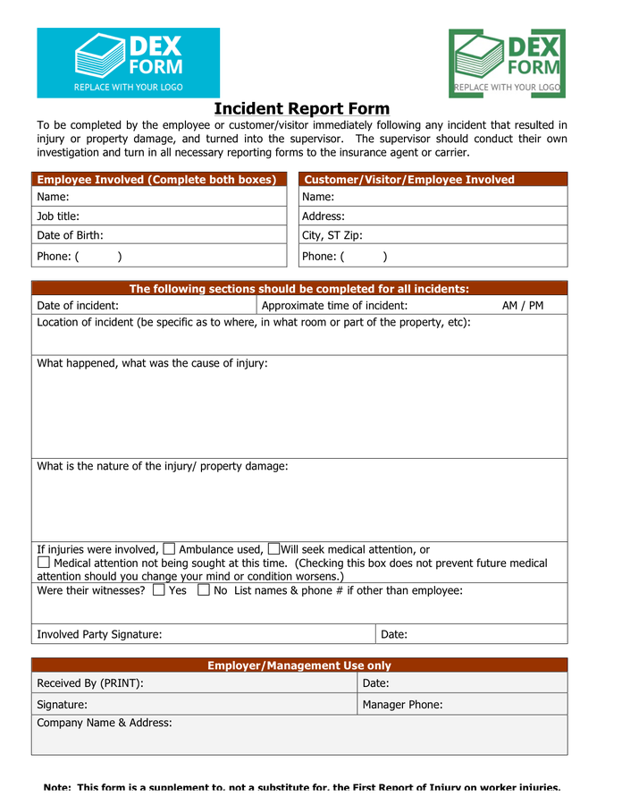 Insurance Incident Report Template 1 Di 2020