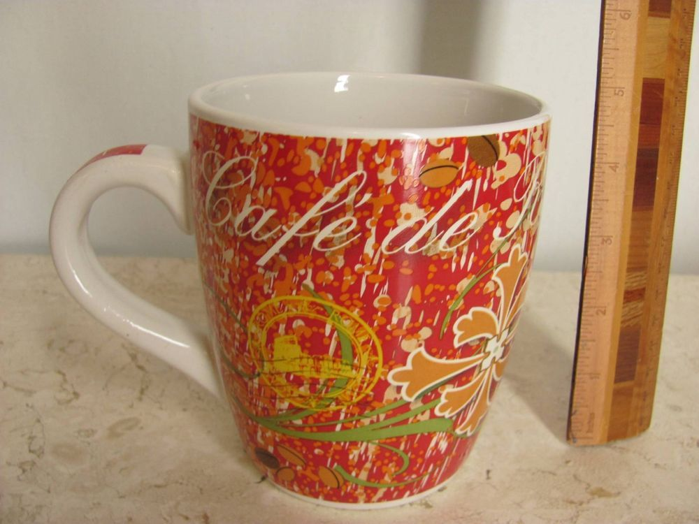 Giant 24 Oz Ceramic Coffee Mug Tea Cup Debra Valencia Cafe De Roma Red Orange
