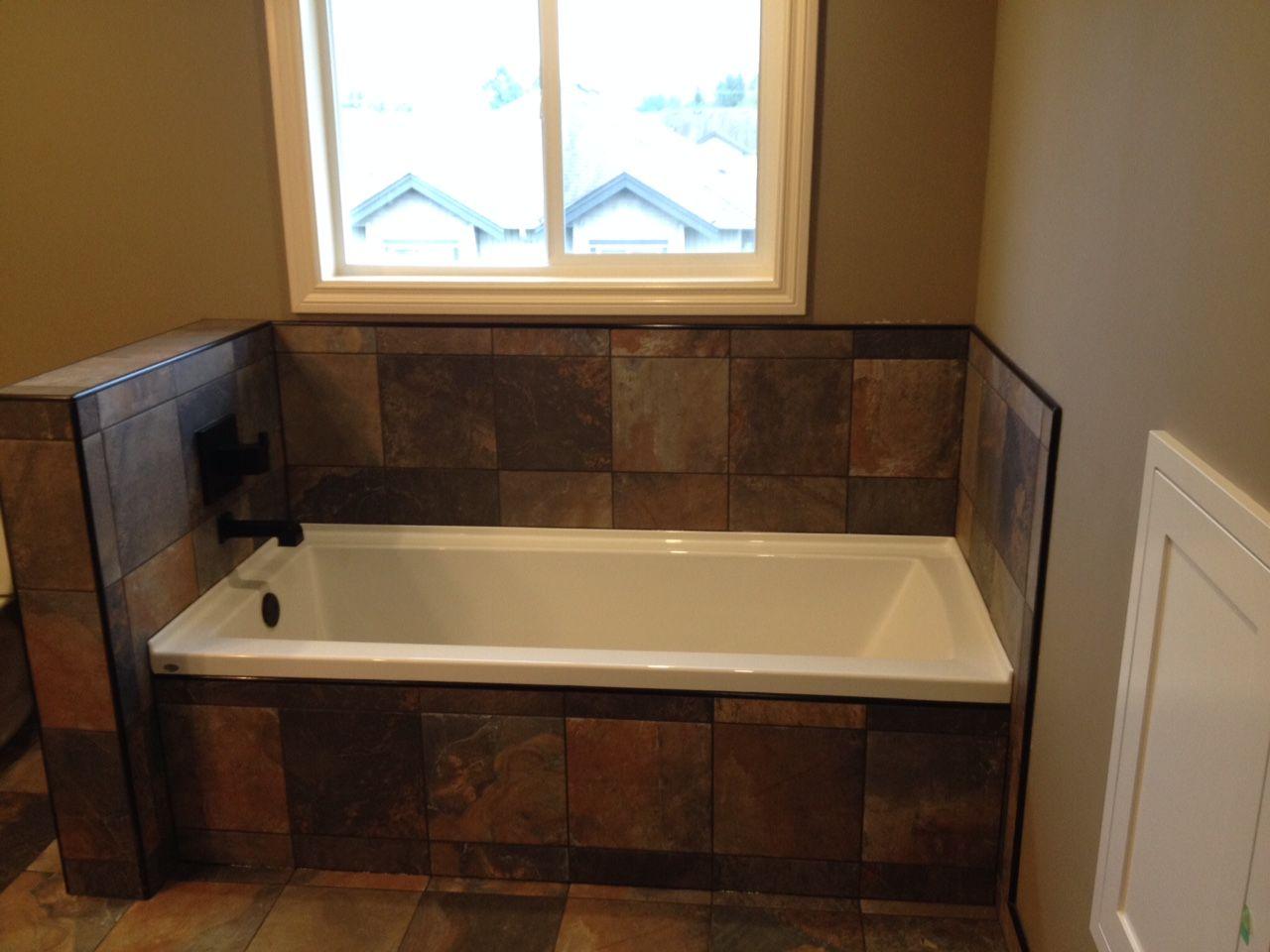 Slate Tile, Black Accessories, Black Tile Trim, Bathtub
