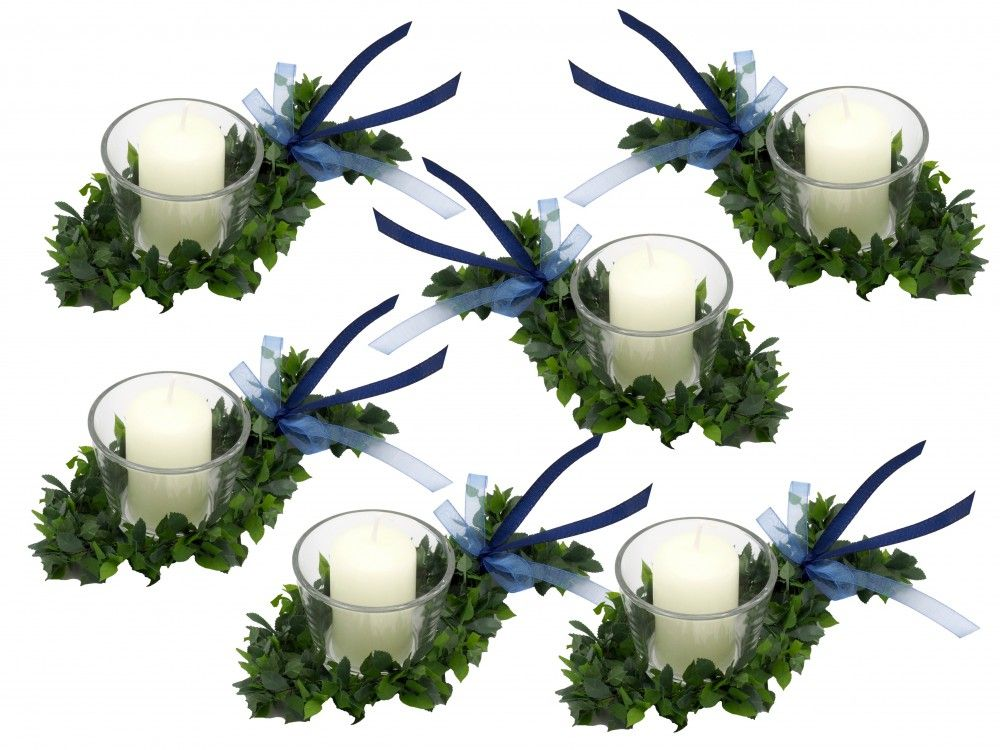 SET: 6x Kerze Votivglas Fisch Rosenblatt Blau Deko A-Z Kerzen