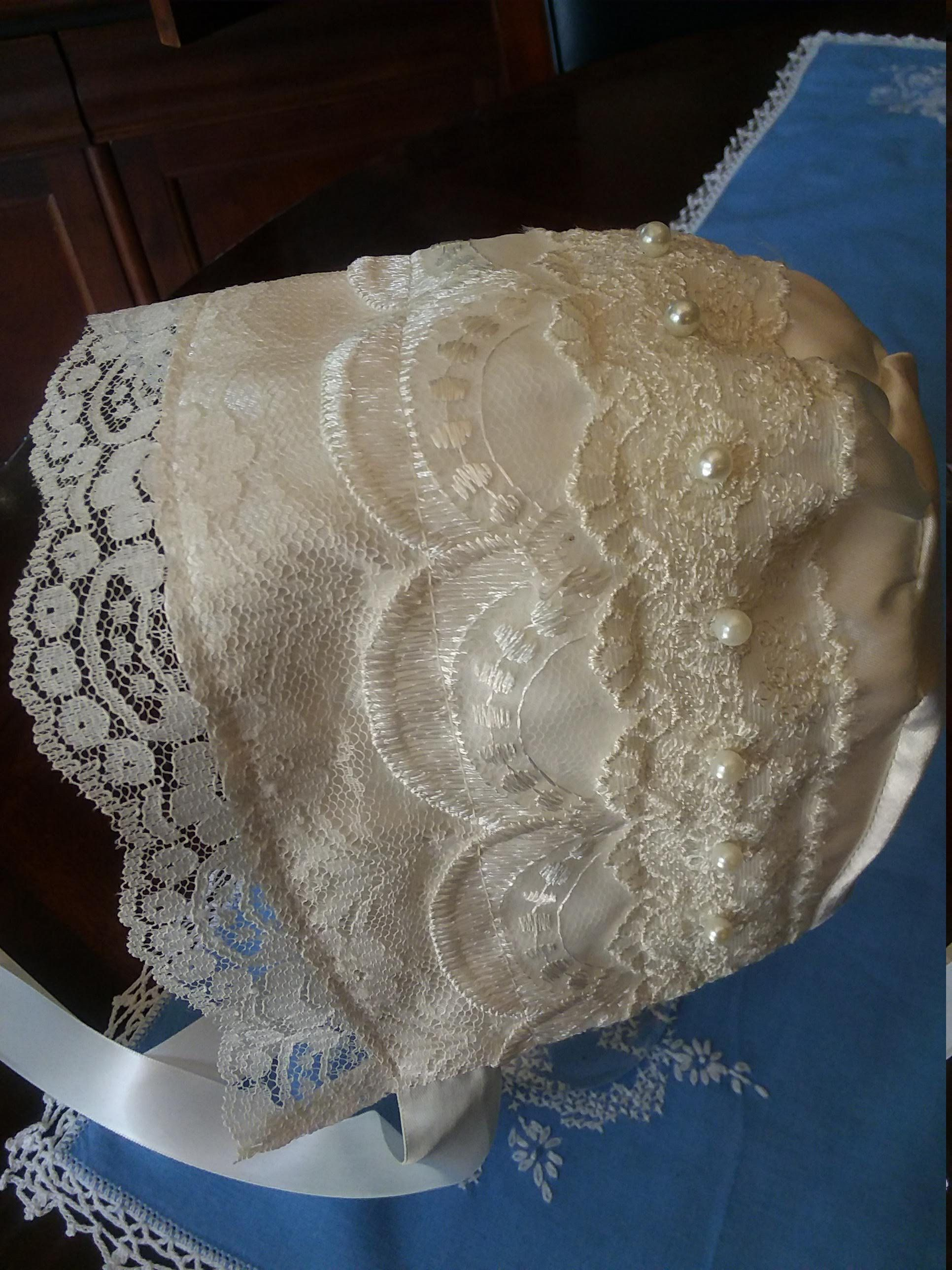 Off white satin and lace baby girl bonnet #bonnets
