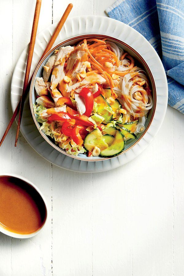 Chicken Noodle Bowl with Peanut-Ginger Sauce Recip