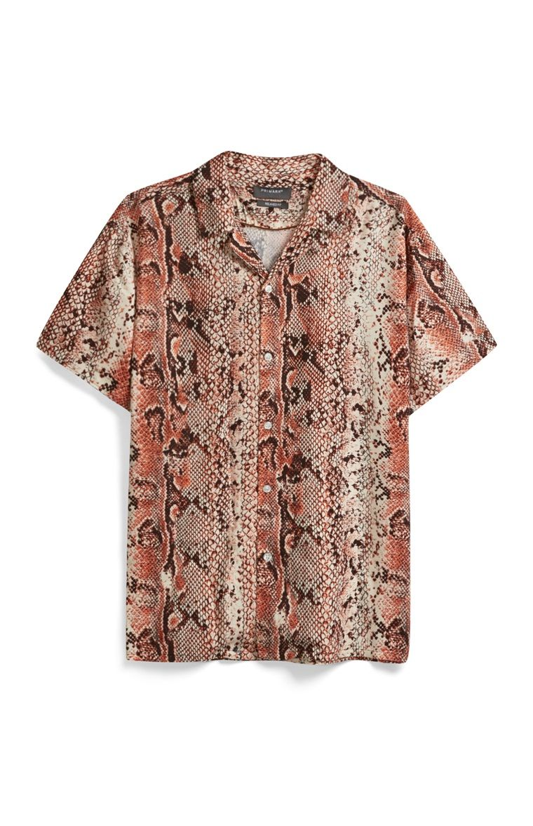 79f08e1b144bcf Primark - Orange Snake Print Shirt | Snakeskin Shirts for Men in ...