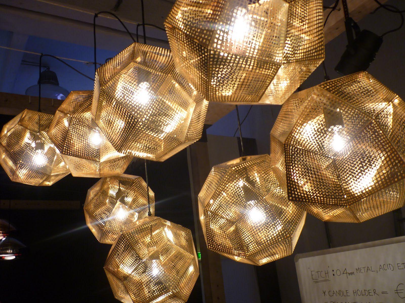 Grid of Stainless Steel and Cooper poligonal light pendants