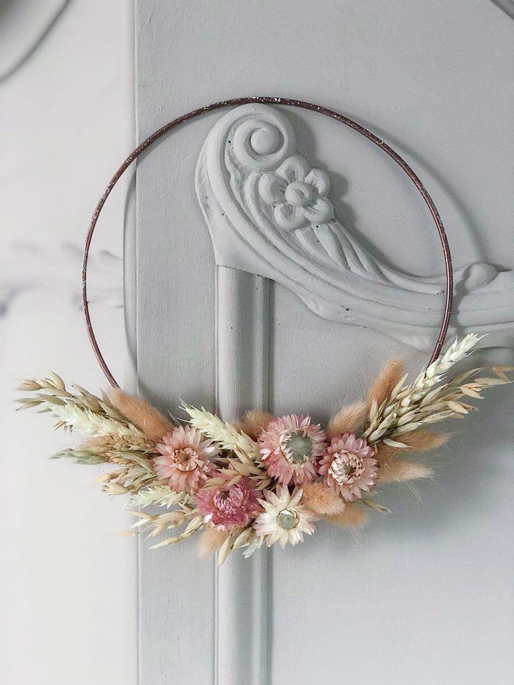 Photo of Spring wreath on the door, wreath of dried flowers, rustic …- Spring wreath on the door ….