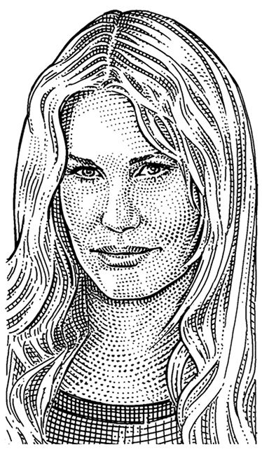 daryl hannah by noli novak portrait illustration on wall street journal login id=25605