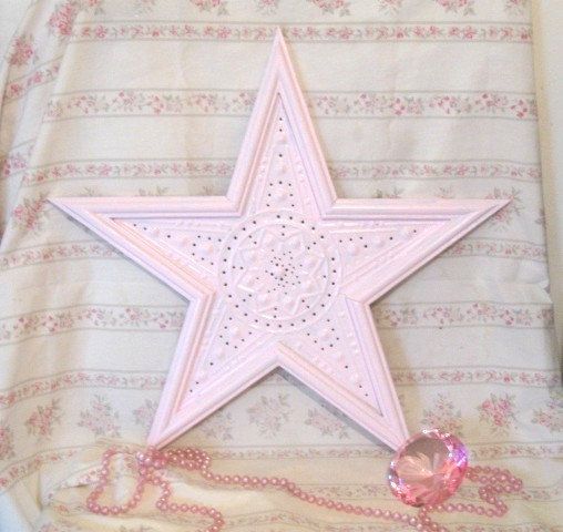 Lg Shabby Pale Pink Wood & Punched Tin Star Wall Decor Ornate 18 ...