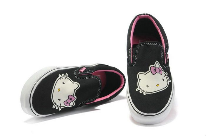 10f5712939 White Hello Kitty Face Printed Black Vans Shoes  Vans