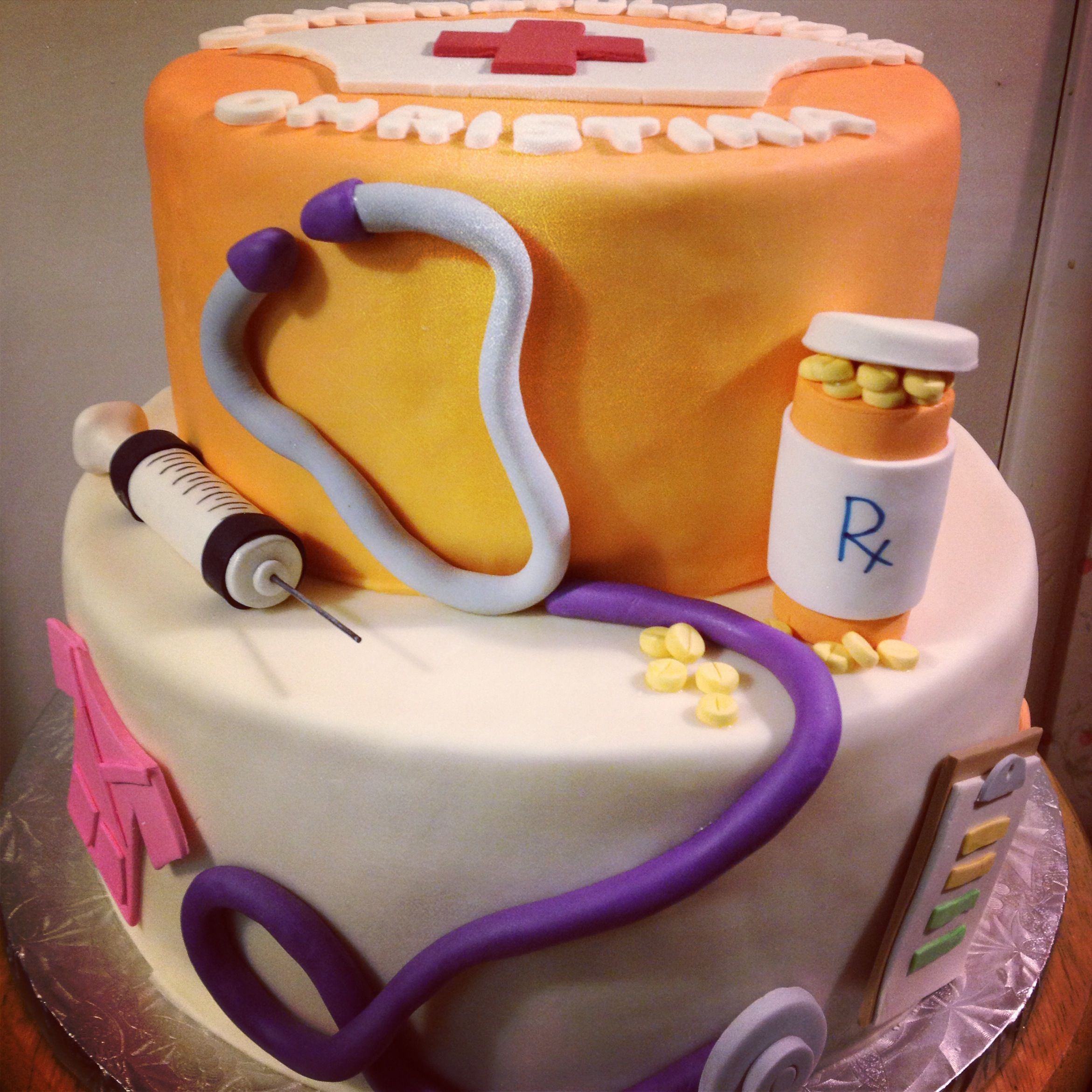 Nursing Cake Decoration Ideas : Nursing School Graduation Cake - Cake for a nursing ...