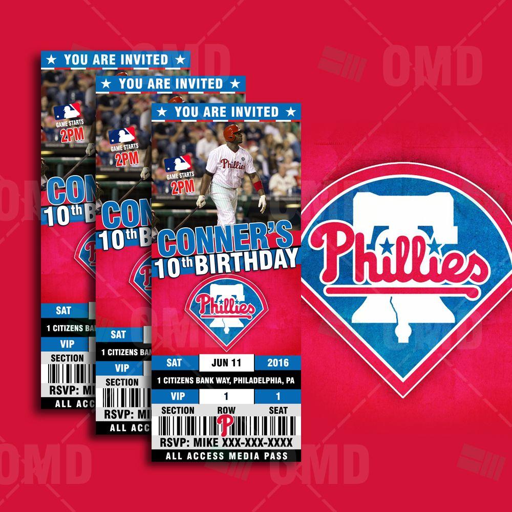 Philadelphia Phillies Baseball Sports Party Invitations   Chris ...