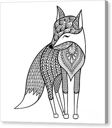 zentangle vector happy fox for adult canvas print / canvas artpanki in 2020  fox coloring