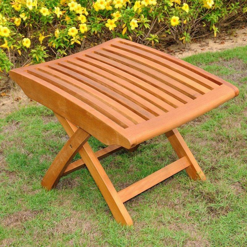 International Caravan Royal Tahiti Yellow Balau Wood Folding Footrest Brown Patio Furniture