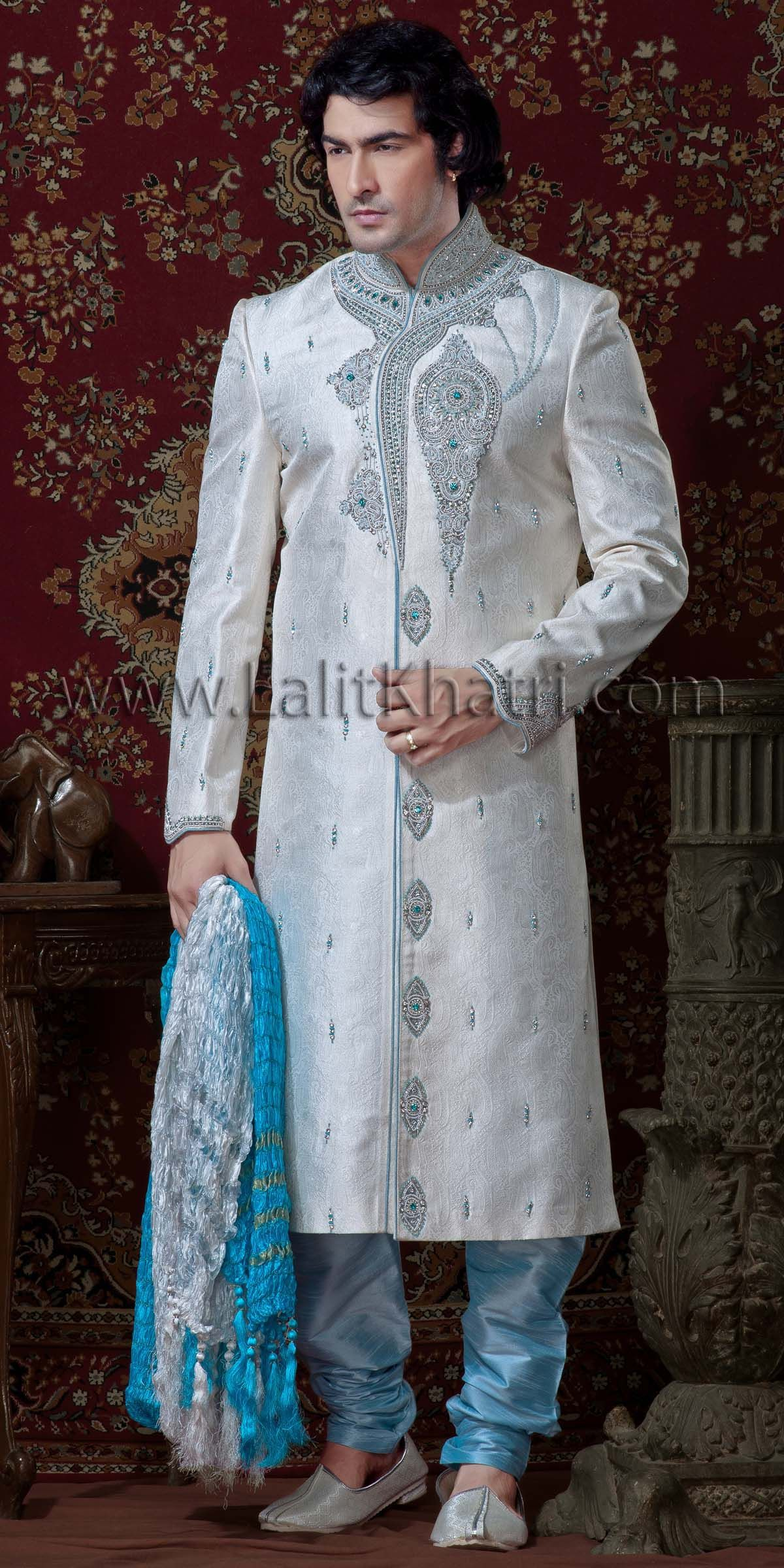 white sherwani | Exquisite Off White Sherwani, Off White & Sky Blue ...