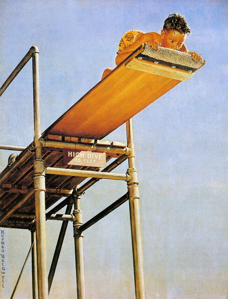 High Dive, art by Norman Rockwell