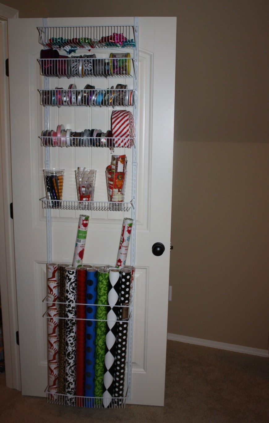 Wrapping paper station for your home! It can be placed on a door and hidden when you don't need it.