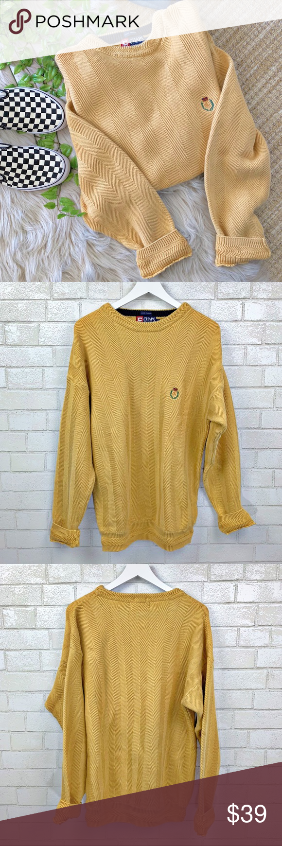1b3d5057b2 Ralph Lauren Chunky Oversized Yellow Sweater Sz M Vintage chunky hand knit oversized  yellow sweater from Chaps Ralph Lauren. Embroidered crest logo at the ...