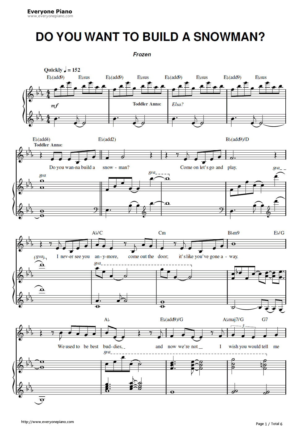 Free Do You Want to Build a Snowman-Frozen OST Sheet Music