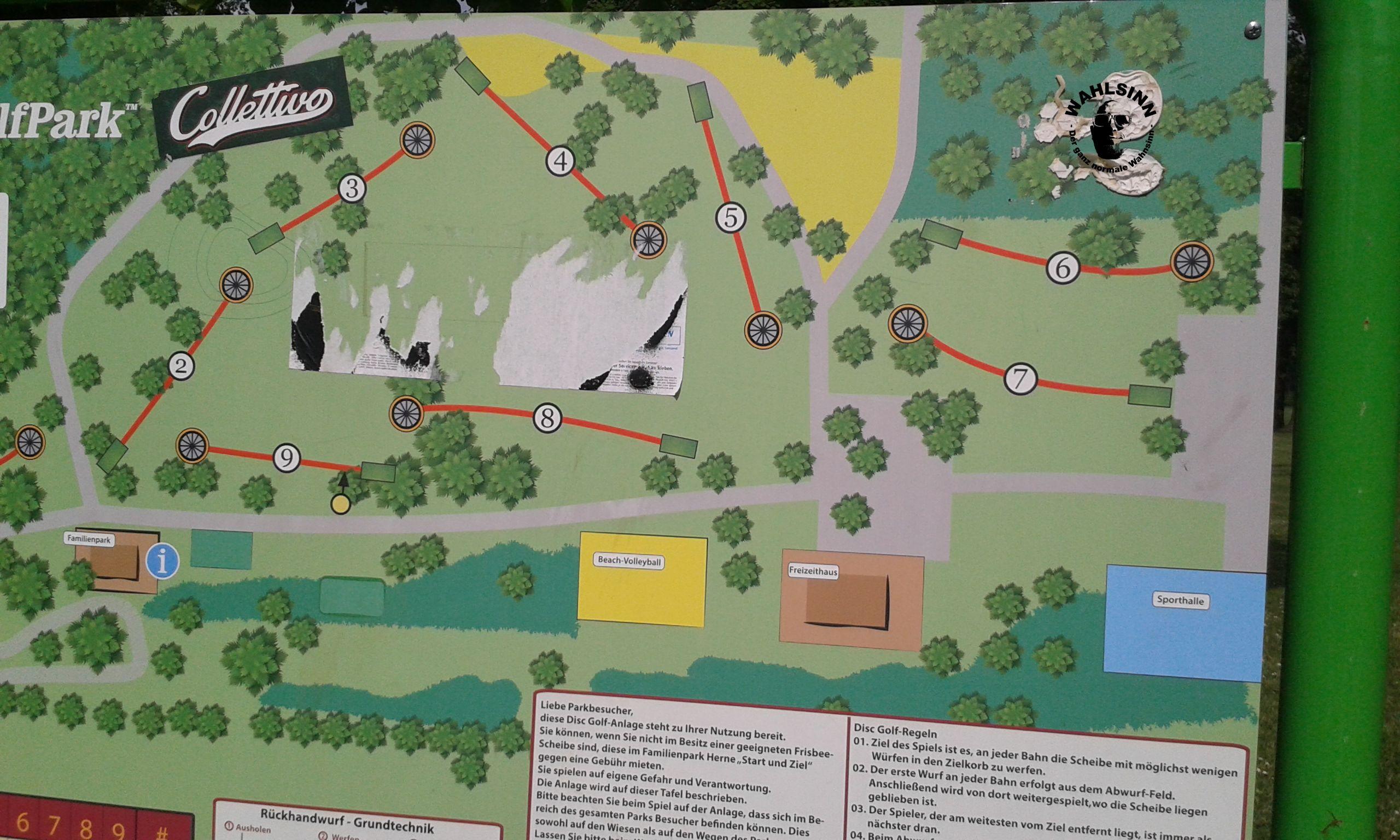 Frisbeegolf - Der Parcours in Herne