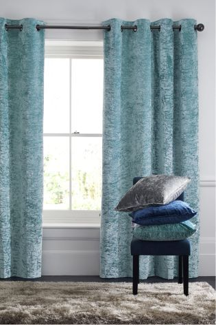Duck Egg Crushed Velvet Eyelet Curtains Living Room Ideas Curtains Blackout Curtains Front