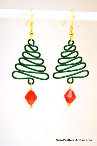 Wire Wrapped Green Christmas Tree Dangling Earrings Red Crystal Bead ...