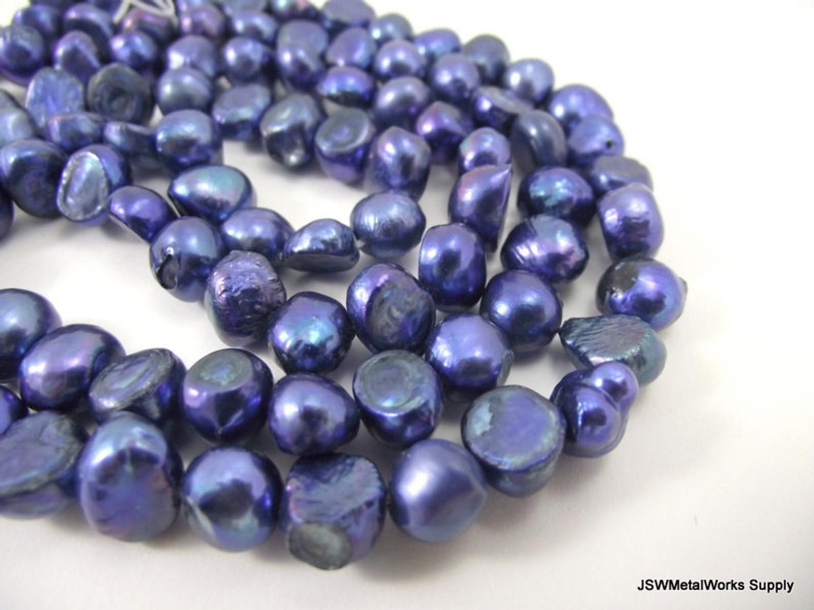 8 Mm Cobalt Cultured Freshwater Potato Pearl Blue Flat Sided Etsy Pearls Blue Flats Freshwater Cultured Pearls