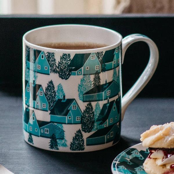 B Goods Greenland Cabin Pattern Mug ($30) ❤ liked on Polyvore featuring home, kitchen & dining, drinkware and bone china