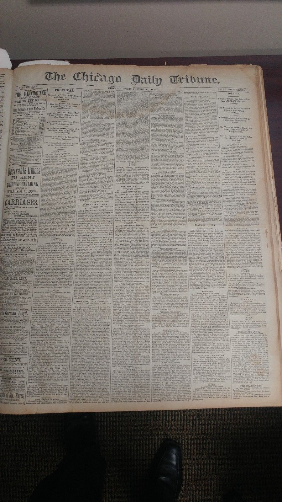 Chicago Daily Tribune newspaper archive book 1876  From July