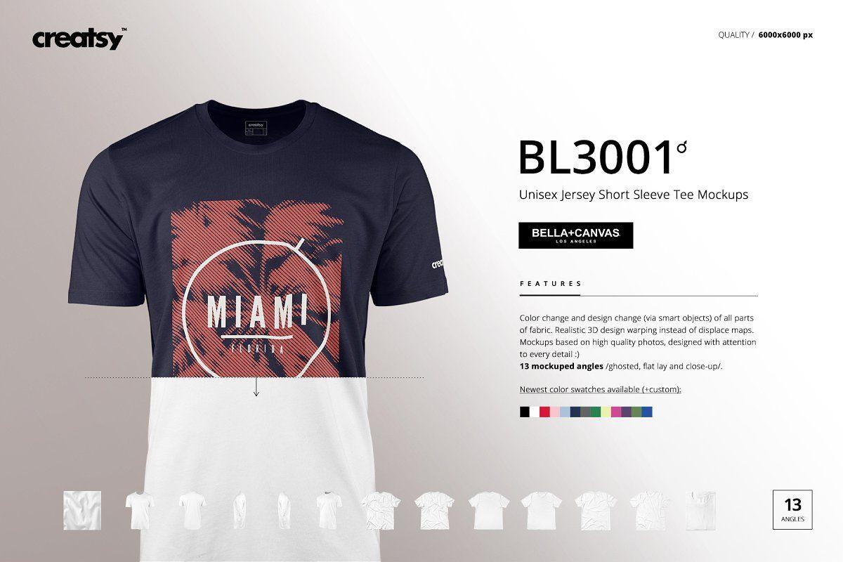 Download Bella Canvas 3001 Mockup Set Men Short Sleeve Tee Mockup Shirt Mockup