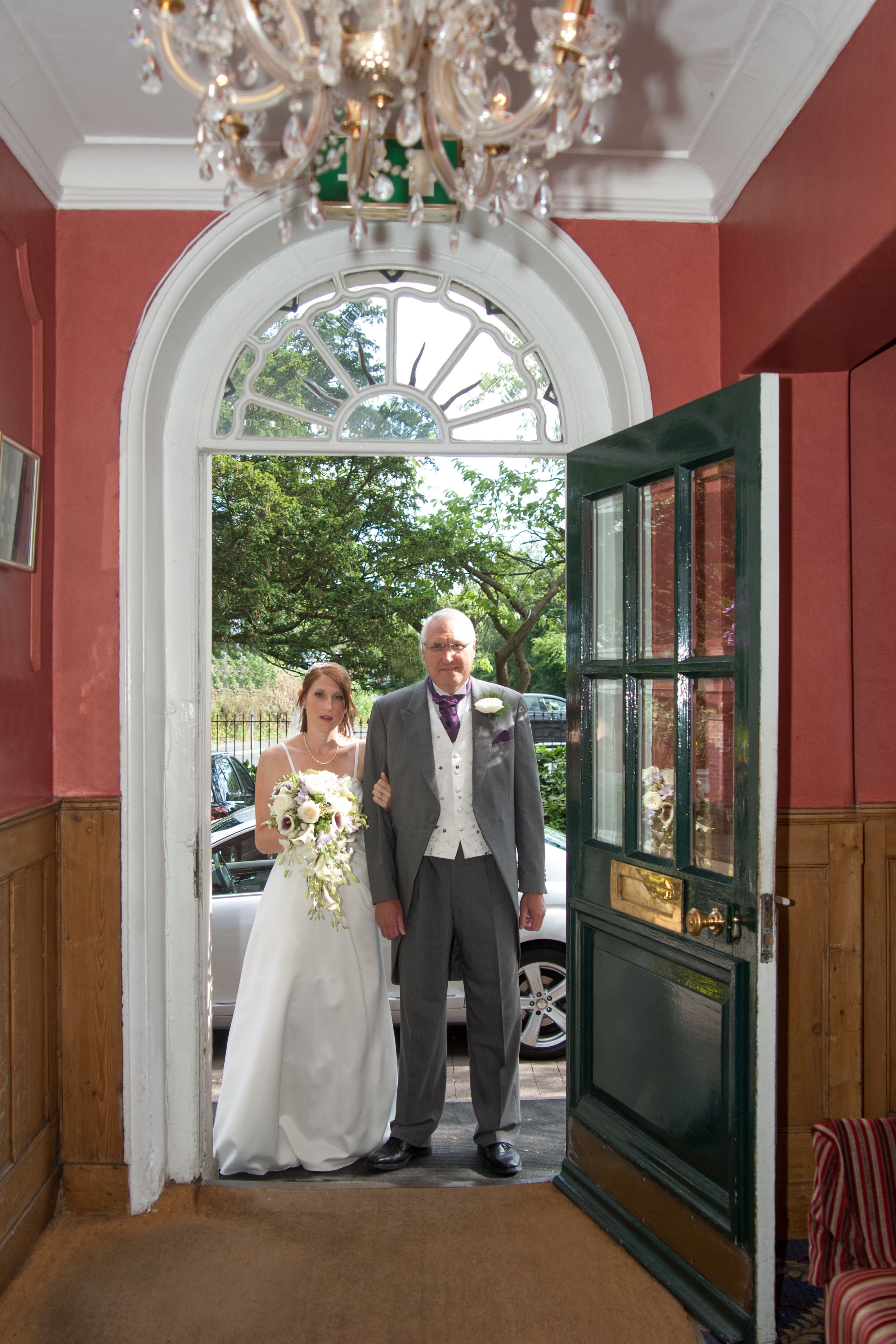 The bride enters the venue ready to be given away to her new