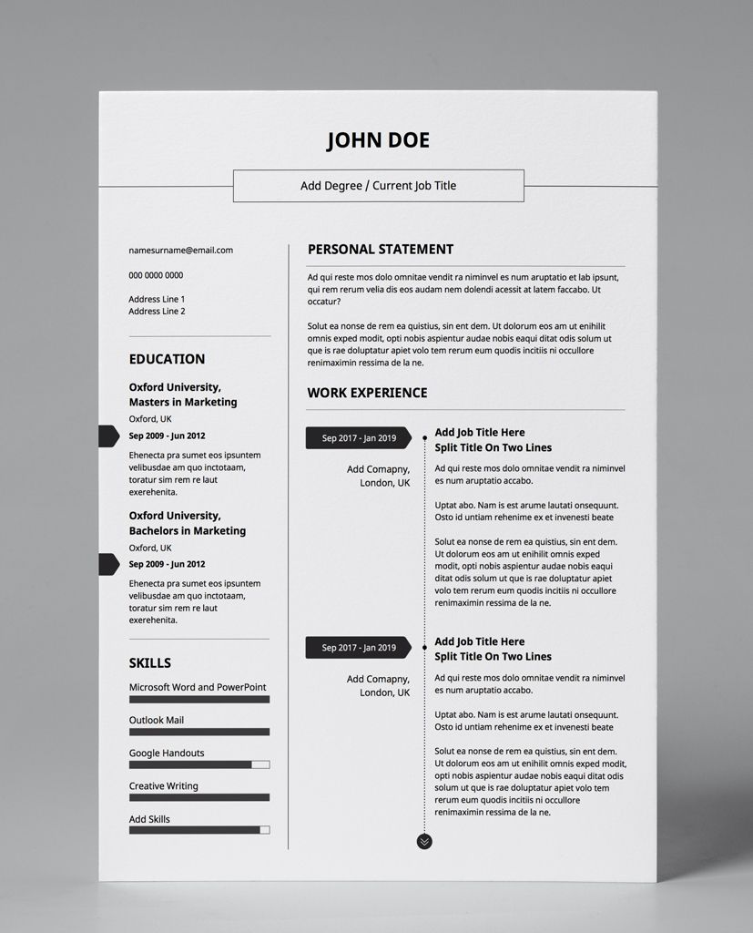Basic lines minimalist double page cv resume modern