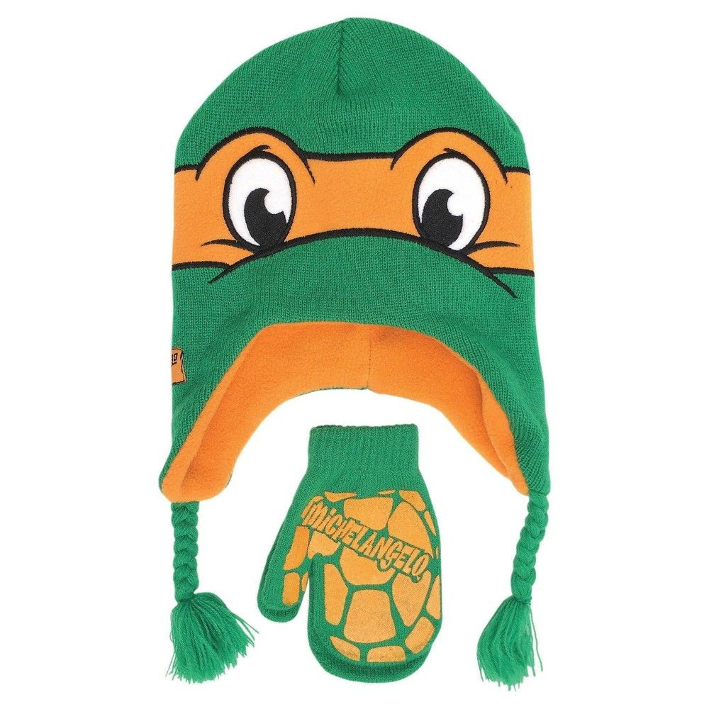 TMNT Ninja Turtles Toddler Boys Hat /& Mittens Set