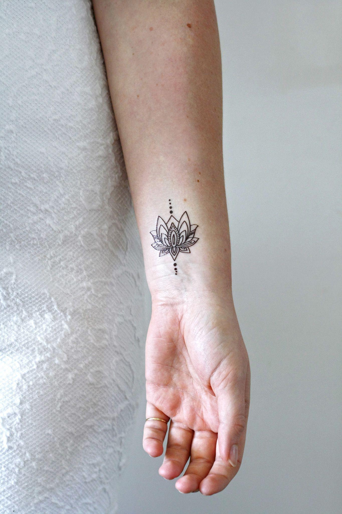 Small lotus temporary tattoo Boho tattoos, Flower wrist