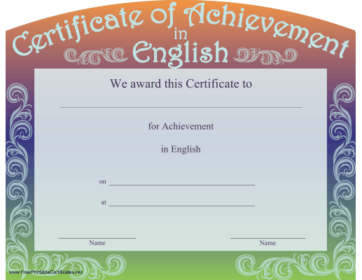 Certificate Borders Free Download New A Certificate Of Achievement In English With A Curved Top And A .