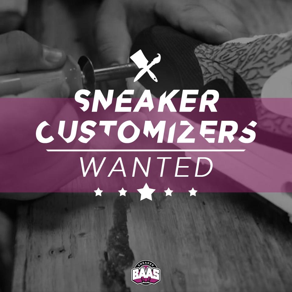 WANTED CUSTOMIZERS!   Ben jij of ken jij iemand die GEK is van het CUSTOMIZEN van SNEAKERS!   Mail ons op webshop@sneakerbaas.nl, en vergeet niet wat werk van mee te sturen.  Wie weet doe jij wel binnenkort mee met een te cool project! En nee het is niet op vrijwillige basis.  www.sneakerbaas.nl | #Sneaker #Customizer #Wanted #Custom